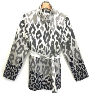 CALVIN KLEIN Gray Ombre Leopard Trench Coat SMALL